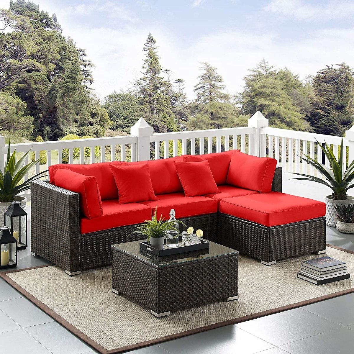 Tribesigns 5 PCS Outdoor Furniture Sectional Sofa Set, Large Wicker Patio Furniture Conversation Set Rattan Couch with Waterproo