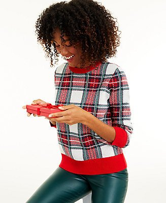 Charter Club Women's Plaid Sweater, Created for Macy's & Reviews - Sweaters - Women