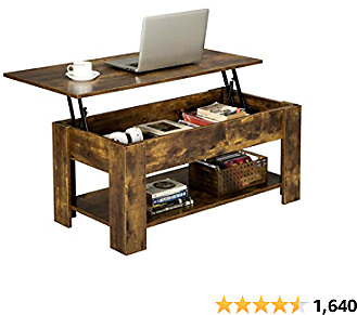 YAHEETECH Rustic Lift Best Top Coffee Table W/Hidden Compartment & Storage Space - Lift Tabletop
