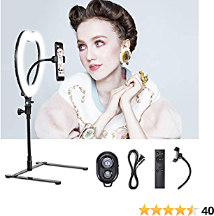 Selfie Ring Light|Dimmable/High Light|Cell Phone Holder|Bluetooth Remote|Desktop Stand|Make Up Mirror|Live Stream/Makeup/Selfie/YouTube Video/Photography/Zoom Video (12 Inch Heart, Black)