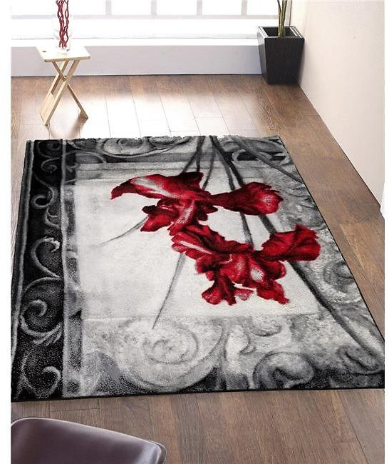 Homedora HD-JC1776-BLC-RED 5 X 7 Ft. Discount World Modern Jersey Collection Floral Stylish Stain Resistant Floor Rug - Black &
