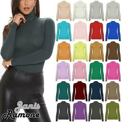 Womens Ribbed Long Sleeve Jumper Turtle Polo Neck Casual Plain Pullover Tops