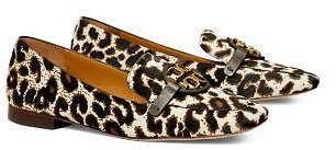 Tory Burch Women's Miller Logo Embellished Leopard Print Calf Hair LeatherLoafers Shoes - Bloomingdale's