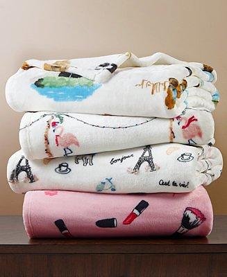 Martha Stewart Collection Printed Plush Throw, Created for Macy's & Reviews - Bedding Collections - Bed & Bath