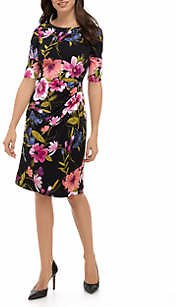 Women's Elbow Sleeve Floral Dress