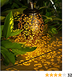 Hanging Solar Lights Outdoor - Garden Solar Lanterns Outdoor Hanging Lights - Waterproof Metal Solar Lanterns Lights for Patio, Pathway, Courtyard,Garden