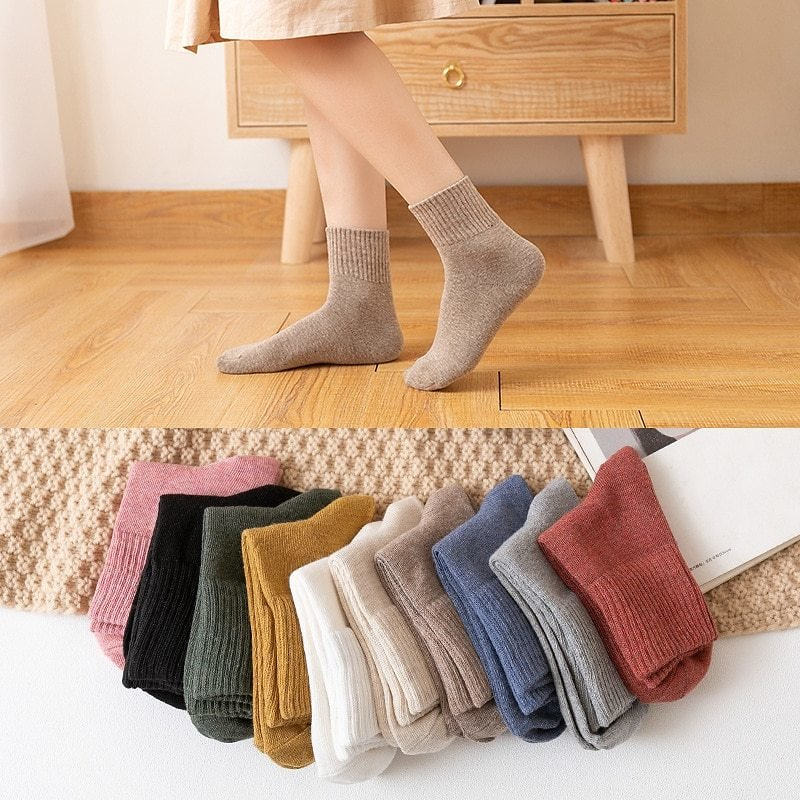 US $1.99 20% OFF|HOT 10pieces = 5 Pairs Autumn Winter Warm Women Cotton Socks Colorful Special Comfortable Knitted Girls Casual Socks Women|Socks| - AliExpress