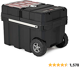 Keter Masterloader Resin Rolling Tool Box with Locking System and Removable Bins – Perfect Organization and Storage Chest for Power Drill, Tape Measure, and Screwdriver Set, Black