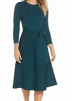 Eliza J Womens Dresses Green Size Small S Sweater Crewneck Belted $138- 196