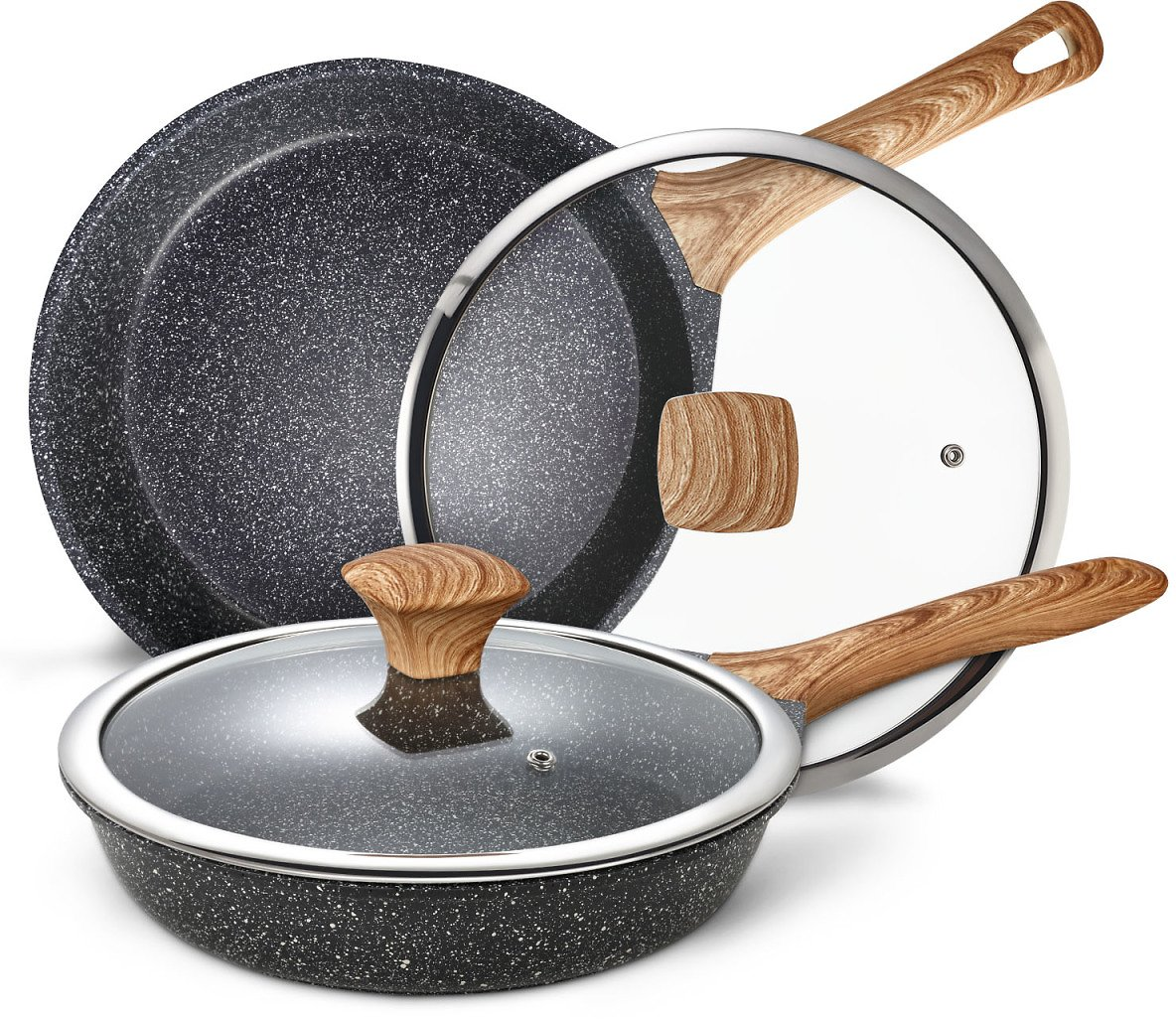Miusco Nonstick Frying Pan Set with Lid, Natural Granite Stone Coating Cookware Set, 10-inch and 12-inch Pots, Black