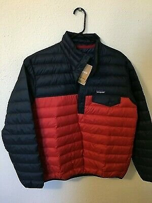 NWT! Patagonia Men's Down Snap-T Pullover Jacket Navy/Red Size M New With Tags