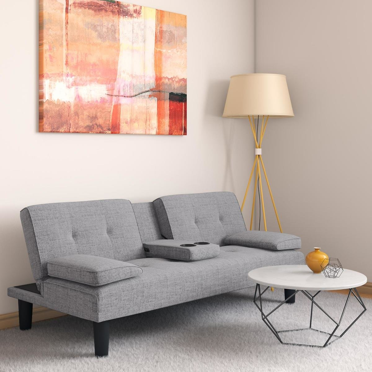DHP Marley Sofa Sleeper Cupholder Futon with 2 Pillows in Grey Linen