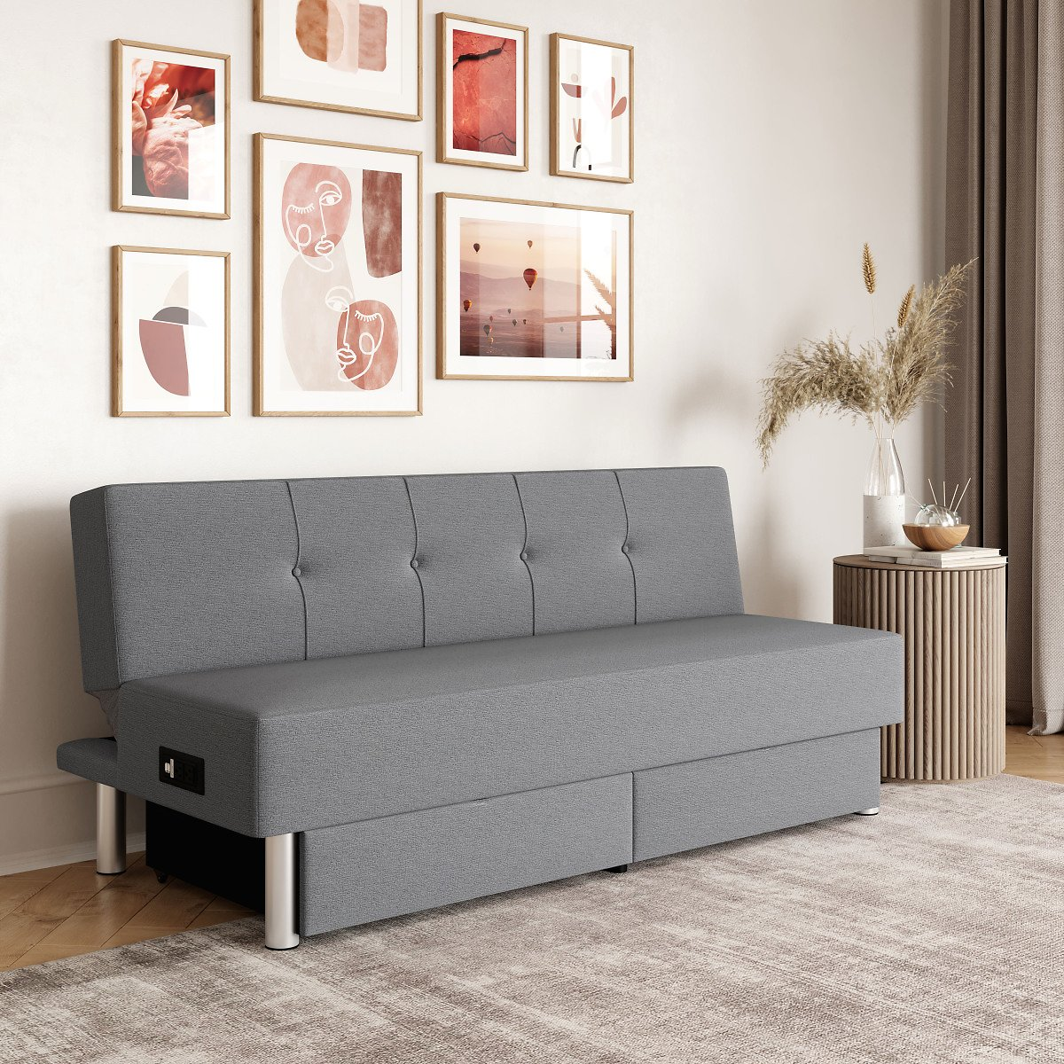 Lifestyle Solutions Windsor Convertible Futon with USB, Power & Storage, Light Grey