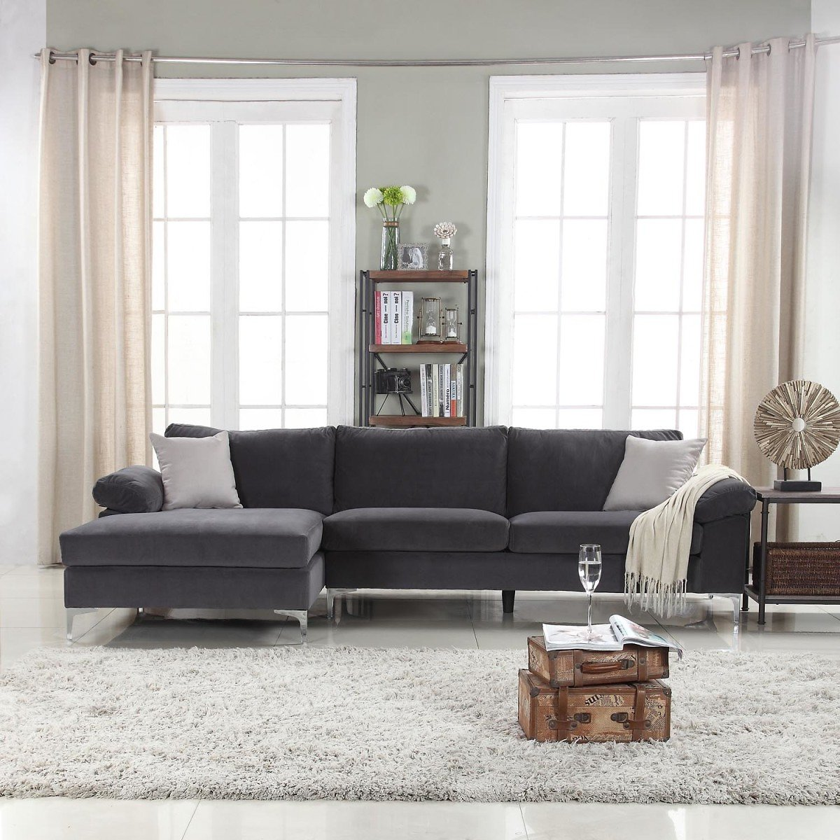 Mobilis Modern Large Microfiber Velvet Fabric L-Shape Sectional Sofa with Extra Wide Chaise Lounge, Gray