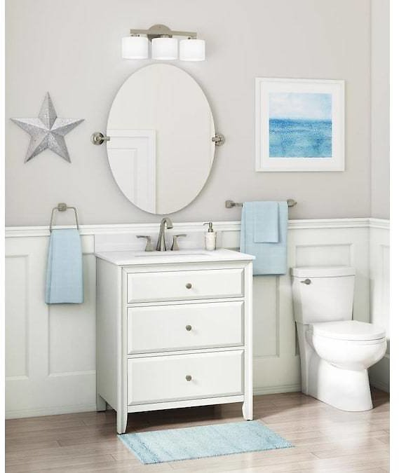 Style Selections 30-in Matte White Single Sink Bathroom Vanity with White Engineered Stone Top Lowes.com