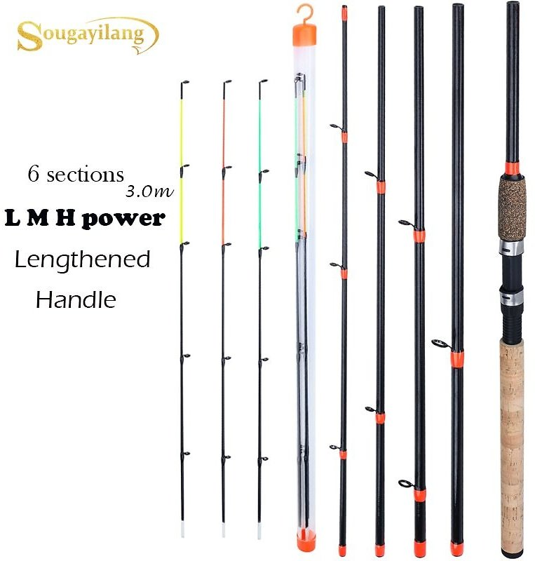 US $8.25 55% OFF|Sougayilang New Feeder Fishing Rod Lengthened Handle 6 Sections Fishing Rod L M H Power Carbon Fiber Travel Rod Fishing Tackle|Fishing Rods| - AliExpress