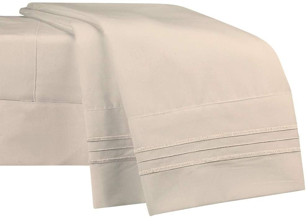 NEWCASTLE Collection - Deluxe Bed Sheet Set - 1800 Brushed 100% Microfiber Bedding - (Cali King, Beige)