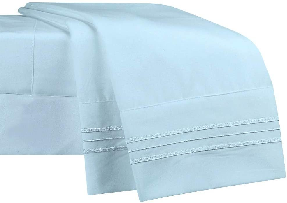 NEWCASTLE Collection - Deluxe Bed Sheet Set - 1800 Brushed 100% Microfiber Bedding - (Cali King, Sky)