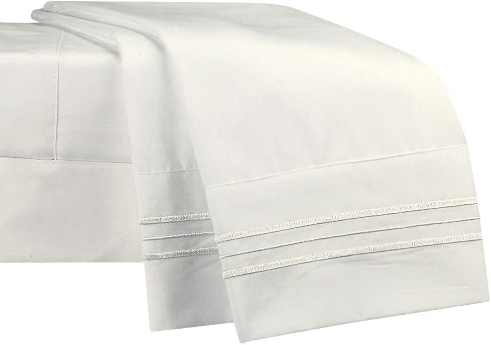 NEWCASTLE Collection - Deluxe Bed Sheet Set - 1800 Brushed 100% Microfiber Bedding - (Cali King, White)