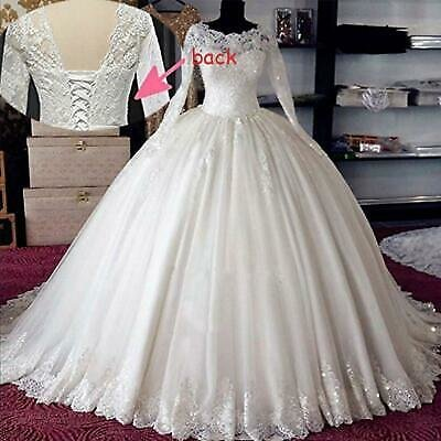 Princess Wedding Dresses Beaded Lace Applique Ball Gowns Sequins Lace Up Back