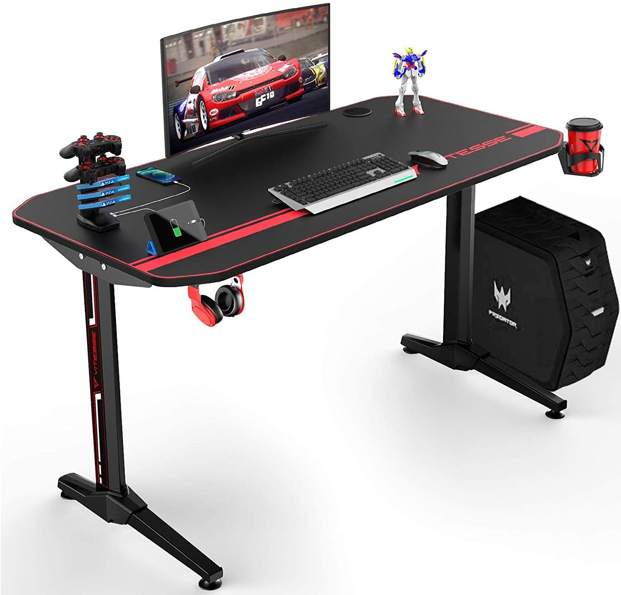 VIT 44 Inch Ergonomic Small Gaming Desk, T-Shaped Office PC Computer Desk with Full Desk Mouse Pad, Gamer Tables Pro with USB Gaming Handle Rack, Stand Cup Holder&Headphone Hook (44 Inch, Black)