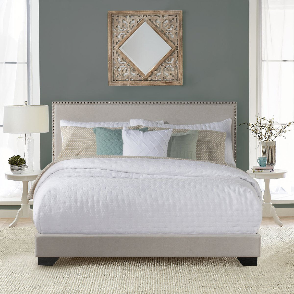 Willow Nailhead Trim Upholstered Full Bed, Fog, By Hillsdale Living Essentials