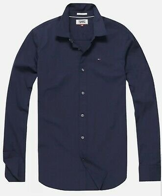 100% Authentic Tommy Hilfiger Shirt Men Navy Blue Oxford Shirt Slim Fit ALL SIZE