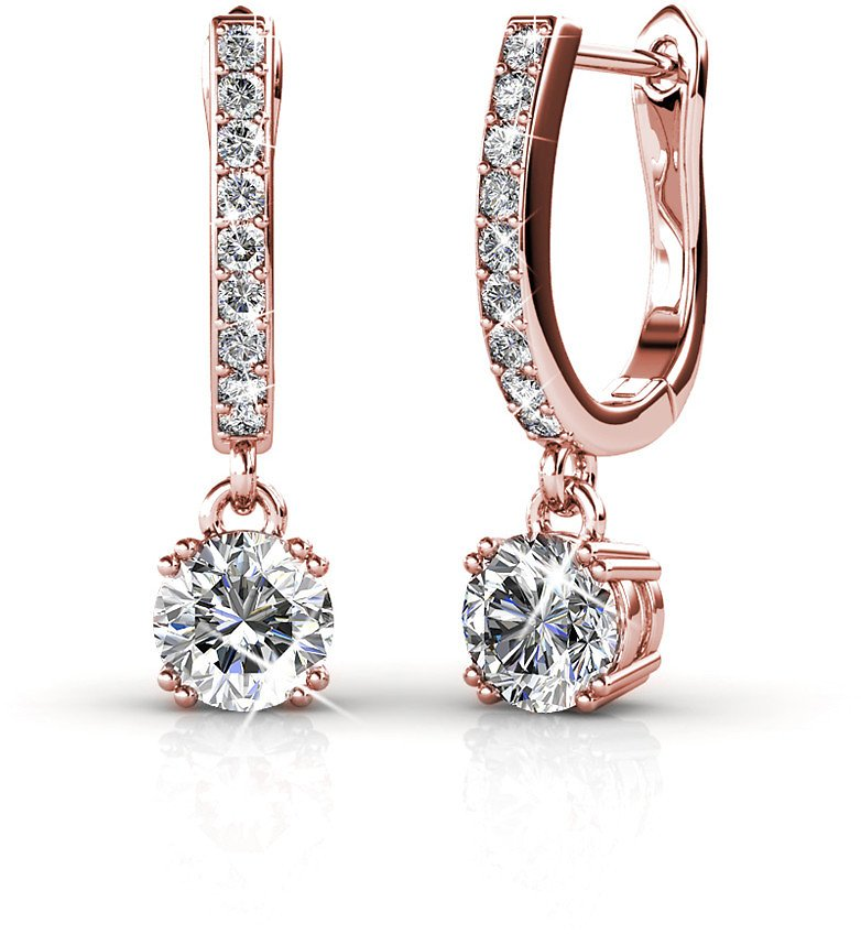 Cate & Chloe McKenzie 18k White Gold Dangling Earrings with Swarovski Crystals, Solitaire Crystal Dangle Earrings