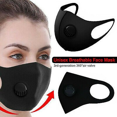 Black Breathable Face Mask Washable Valve Reusable Filter Nose Mouth Protection