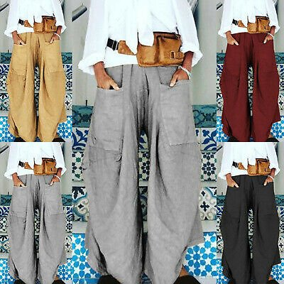 Womens Solid Yoga Pants Harem Festival Baggy Hippie Boho Casual Loose Trousers