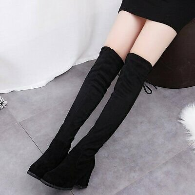 Sexy Pointed Block Heel Stretch Over The Knee Boot Casual Faux Suede Women Shoes