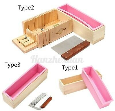 Silicone Soap Mold Wooden Box Loaf Cake Maker Cutting Cutter Making Tool + #