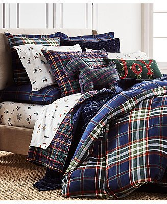 Martha Stewart Collection Midcentury Plaid Bedding Collection, Created for Macys & Reviews - Bedding Collections - Bed & Bath