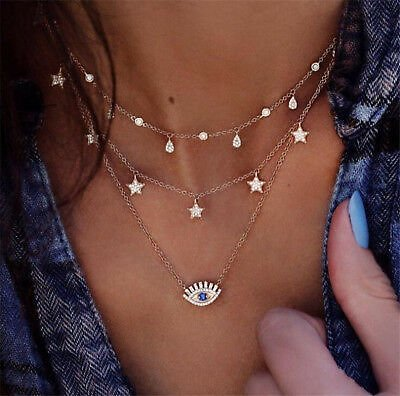 Newest Fashion Women Eye Star Necklace Multilayer Crystal Clavicle Chain Jewelry