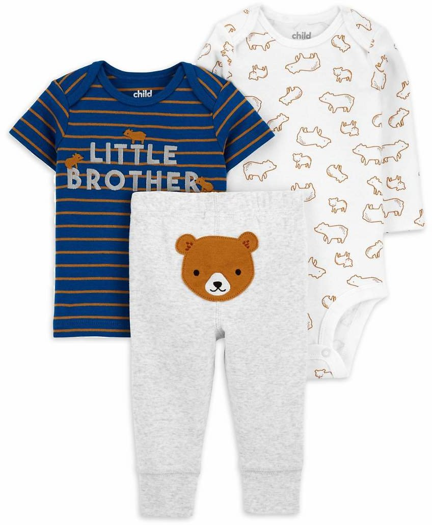 Child of Mine By Carter's Baby Boy Long Sleeve Bodysuit, Short Sleeve Shirt, and Pant 3pc Outfit Set