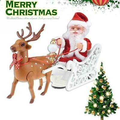 Christmas Santa Claus in Sleigh with Reindee Deer Ornaments Xmas Hot Sales J2T0