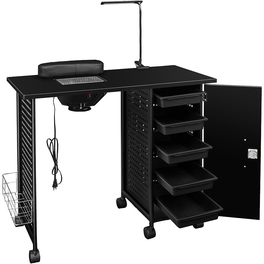 US $45.16 41% OFF|【US Warehouse】Manicure Nail Table Station Steel Frame Beauty Salon Equipment Drawer with LED Lamp Black Drop Shipping USA|Salon Trolley| - AliExpress