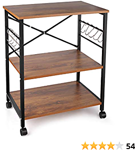 Industrial Kitchen Baker's Rack, 3-Tier Microwave Oven Stand Storage Cart with with Metal Frame and 10 Hooks (with Casters)