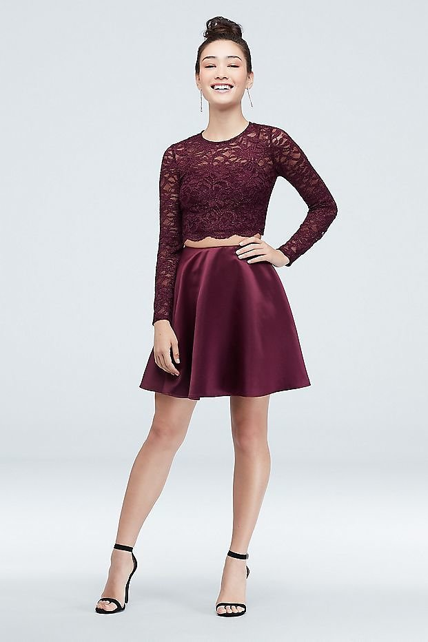 Glitter Lace Crop Top and Mini Skater Skirt Set