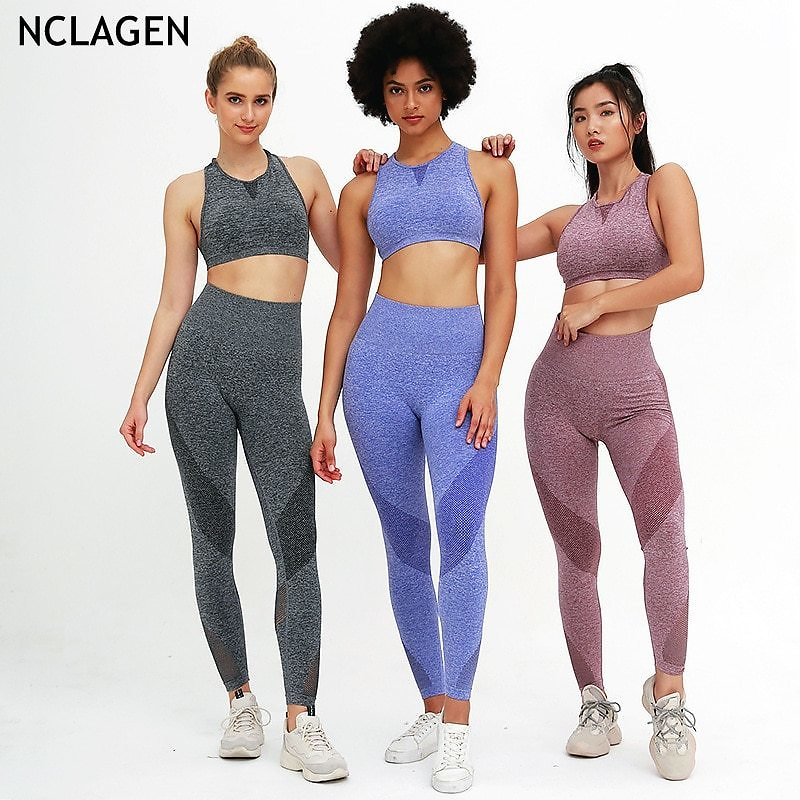 US $16.04 53% OFF|NCLAGEN Knitting Seamless Yoga Suit Women Two Piece Set Stretchy Gym Sport Workout Running Push Up Athletic Crop Top Leggings|Yoga Sets| - AliExpress