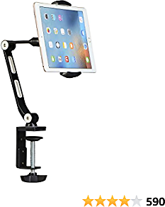 Suptek Aluminum Alloy Cell Phone Desk Mount Stand 360° Tablet Stand and Holders Adjustable for IPad, IPhone, Samsung, Asus and More 4.7-11 Inch Devices, Good for Bed, Kitchen, Office (YF208B)