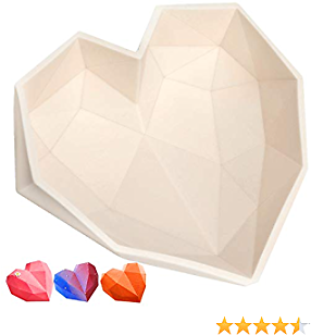 Diamond Heart Love Mousse Cake Mold Trays, Silicone Baking Pan-Food Grade & BPA Free-Not Sticky Mould Suitable For Mousse