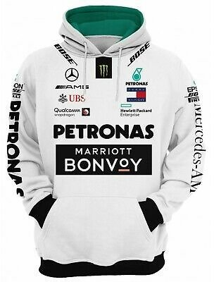 3D Hoodie Tommy Hilfiger Top Mercedes Benz Marriott UBS Bose Formula 1 White