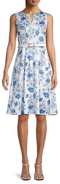 Karl Lagerfeld Paris Belted Floral Flare Dress