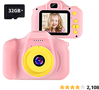 VATENIC Kids Camera Best Birthday for Girls Toys 1080P 2 Inch Toddler Video Children Digital Cameras for 3-10 Year Old Girls with 32GB SD Card (Pink)