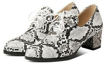 Womens Lace Up Oxfords Snakeskin Print Chunky Mid Heel Round Toe Casual Shoes