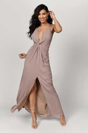 Eyes On You Taupe Maxi Dress