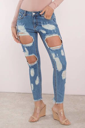 Rip To Shreds Medium Wash Distressed Jeans