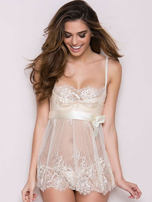 White Lace Babydoll Ribbon Bow Sheer Backless Sexy Babydoll With T Back