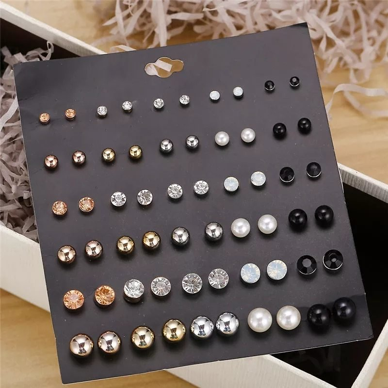 30 Pairs/set Classic Women's Round Ball Metal Pearl Earrings For Women Girl Gifts Crystal Stud Earring Sets Mix Jewelry